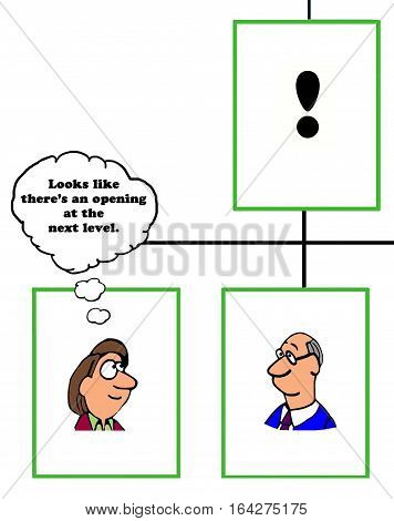 Color business cartoon about an opening up one level in the organization.
