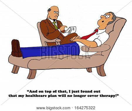 Color healthcare cartoon about medical insurance no longer covering therapy sessions.