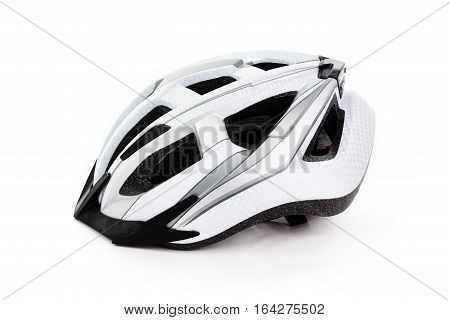 White bicycle helmet for safety on white background