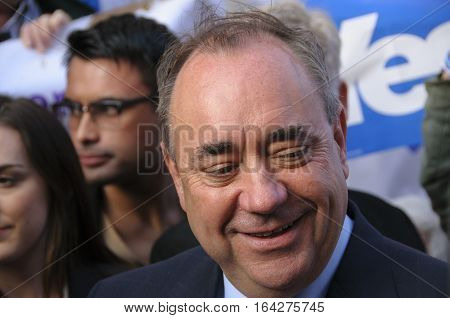 PERTH, SCOTLAND, UK - 12 Sep 12, 2014: First Minister Alex Salmond during a walkabout with Yes supporters in Perth High Street Scotland UK.