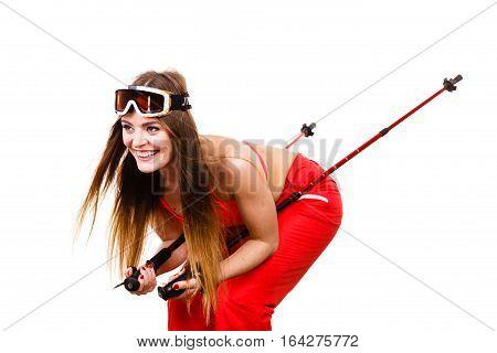 Woman Skier In Googles With Ski Poles. Winter Sport
