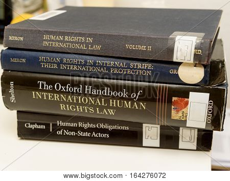 PARIS FRANCE - NOV 27 2016: Diverse Human Rights law books preparation for examination exam pass mb and phd thesis