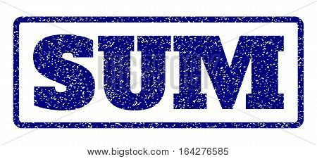 Navy Blue rubber seal stamp with Sum text. Vector caption inside rounded rectangular frame. Grunge design and dirty texture for watermark labels. Horisontal sign on a white background.