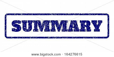 Navy Blue rubber seal stamp with Summary text. Vector caption inside rounded rectangular banner. Grunge design and scratched texture for watermark labels. Horisontal emblem on a white background.