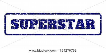 Navy Blue rubber seal stamp with Superstar text. Vector tag inside rounded rectangular shape. Grunge design and dirty texture for watermark labels. Horisontal emblem on a white background.