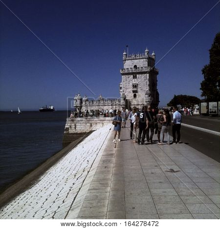 LISBON, PORTUGAL - June 2015: iPhone Hipstamatic image of the Torre de Belem ( Tower of Belem ) in Belem Lisbon Portugal -- Picture by Jonathan Mitchell/Atlas Photo Archive