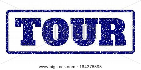 Navy Blue rubber seal stamp with Tour text. Vector caption inside rounded rectangular shape. Grunge design and unclean texture for watermark labels. Horisontal emblem on a white background.