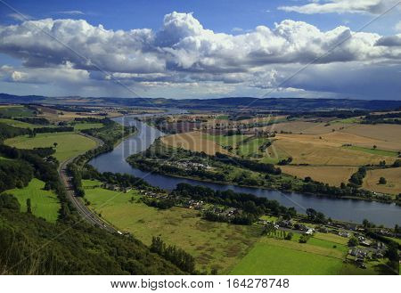 The panoramic view from Kinnoull Hill near Perth Scotland UK showing the A9 and River Tay.