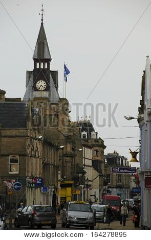 Scotland Nairn -- 05 Sep 2014 -- People And Traffic On Nairn High Street In Scotland -- Picture By J