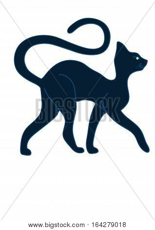 Black graceful cat on a white background.