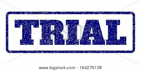 Navy Blue rubber seal stamp with Trial text. Vector message inside rounded rectangular shape. Grunge design and scratched texture for watermark labels. Horisontal emblem on a white background.