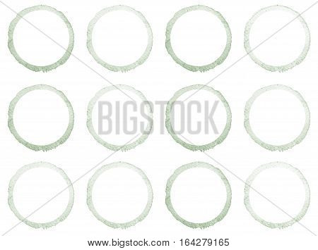Watercolor Hand Painted Circle Shape Design Elements. Grey Banners Set.