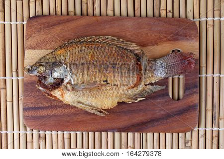 Ready Served Deep Fried Fish ,nile Tiapia, On Butcher Served.