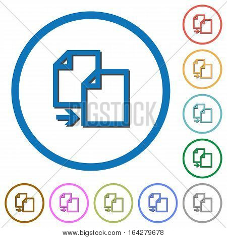 Copy item flat color vector icons with shadows in round outlines on white background