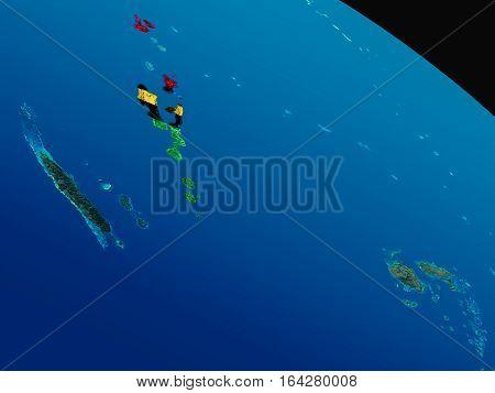Flag Of Vanuatu From Space