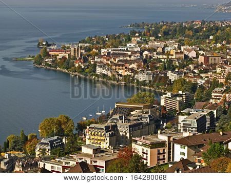 Coastline of the City of Montreux, Switzerland.  Home of the International Jazz Festival.