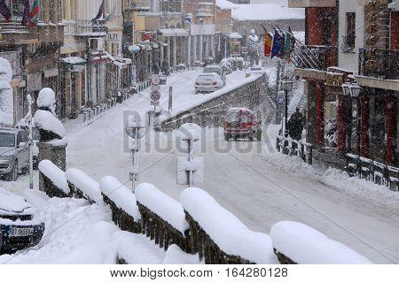 VELIKO TARNOVO BULGARIA - JANUARY 6 2017: Blizzard in the town on the winter day