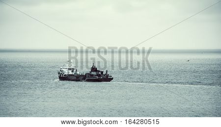close up shot of the trawler in open sea