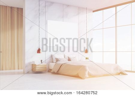 Bedroom With Double Bed And Poster, Toned
