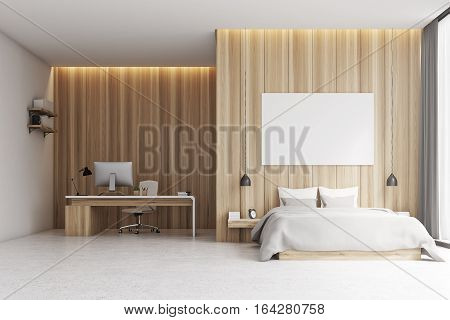 Bedroom With Study Area, Wood