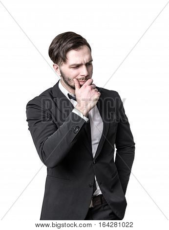 Bearded Businessman Thinking