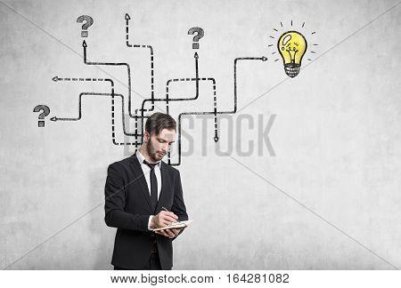 Pensive Man Near Arrow Sketch, Light Bulb
