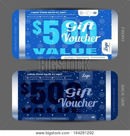 Vector gift voucher on the dark blue background with snowflakes pattern snowfall and strips.
