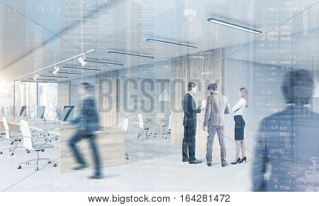 Rear view of people in suits in an open office with rows of computers and a meeting room with glass wall. 3d rendering. Double exposure.