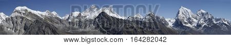 A Panorama Of The Himalayan Peaks Around Mount Everest (8848m). The Peak Of This Famous Mountain Can