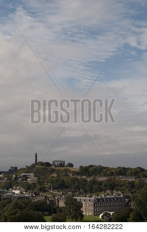 EDINBURGH SCOTLAND UK - Sep 12, 2010: Calton Hill and Hollyrood Palace in Edinburgh Scotland UK.