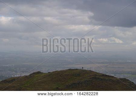 Landscape from Arthur's Seat in Edinburgh Scotland looking east.