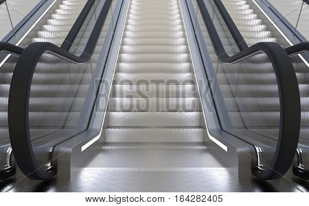 Escalator in a building going upstairs 3D rendering