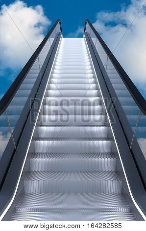 Escalator to the blue sky With clouds 3D rendering