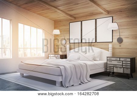 Side View Of Double Bed With Lamps, Toned