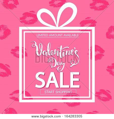 Valentines Day sale. Square banner in form of gift. Lips print on pink background
