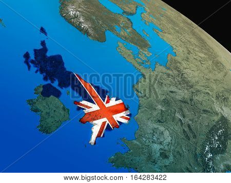 Flag Of United Kingdom From Space