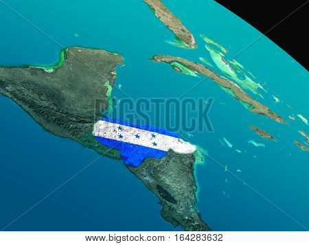 Flag Of Honduras From Space