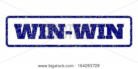 Navy Blue rubber seal stamp with Win-Win text. Vector caption inside rounded rectangular banner. Grunge design and unclean texture for watermark labels. Horisontal emblem on a white background.