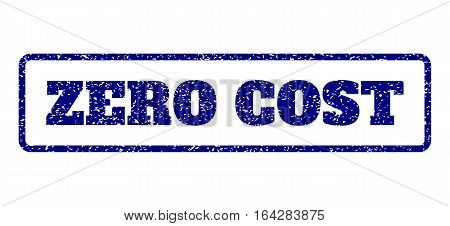 Navy Blue rubber seal stamp with Zero Cost text. Vector tag inside rounded rectangular banner. Grunge design and dirty texture for watermark labels. Horisontal sticker on a white background.