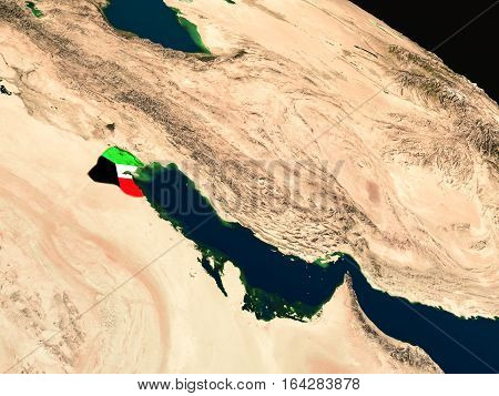 Flag Of Kuwait From Space