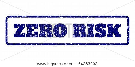 Navy Blue rubber seal stamp with Zero Risk text. Vector message inside rounded rectangular banner. Grunge design and unclean texture for watermark labels. Horisontal sticker on a white background.
