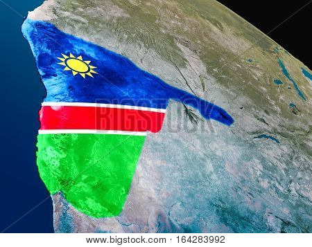 Flag Of Namibia From Space