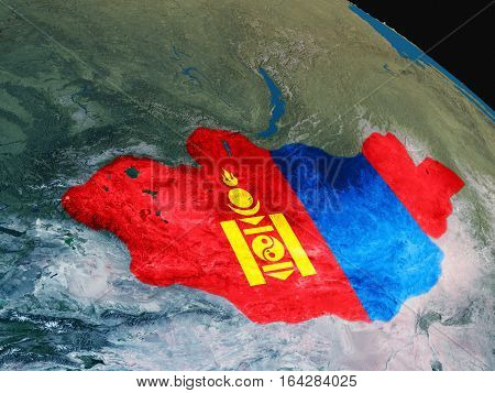 Flag Of Mongolia From Space