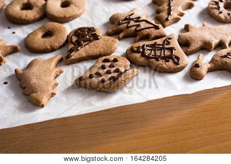 Decoration On Gingerbread Cookie Close Up.