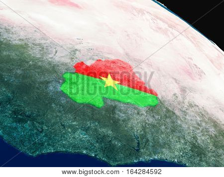 Flag Of Burkina Faso From Space