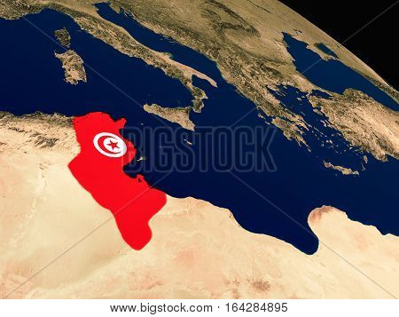 Flag Of Tunisia From Space