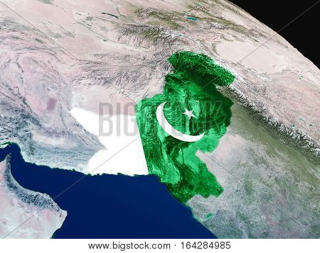 Flag Of Pakistan From Space