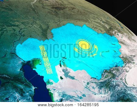 Flag Of Kazakhstan From Space