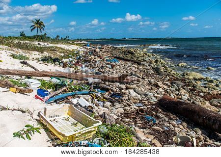 Mexico Coastline ocean Pollution Problem with plastic litter 3