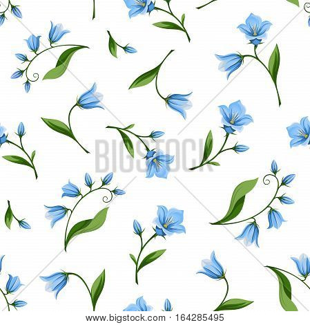 Vector seamless pattern with blue bluebell flowers isolated on a white background.